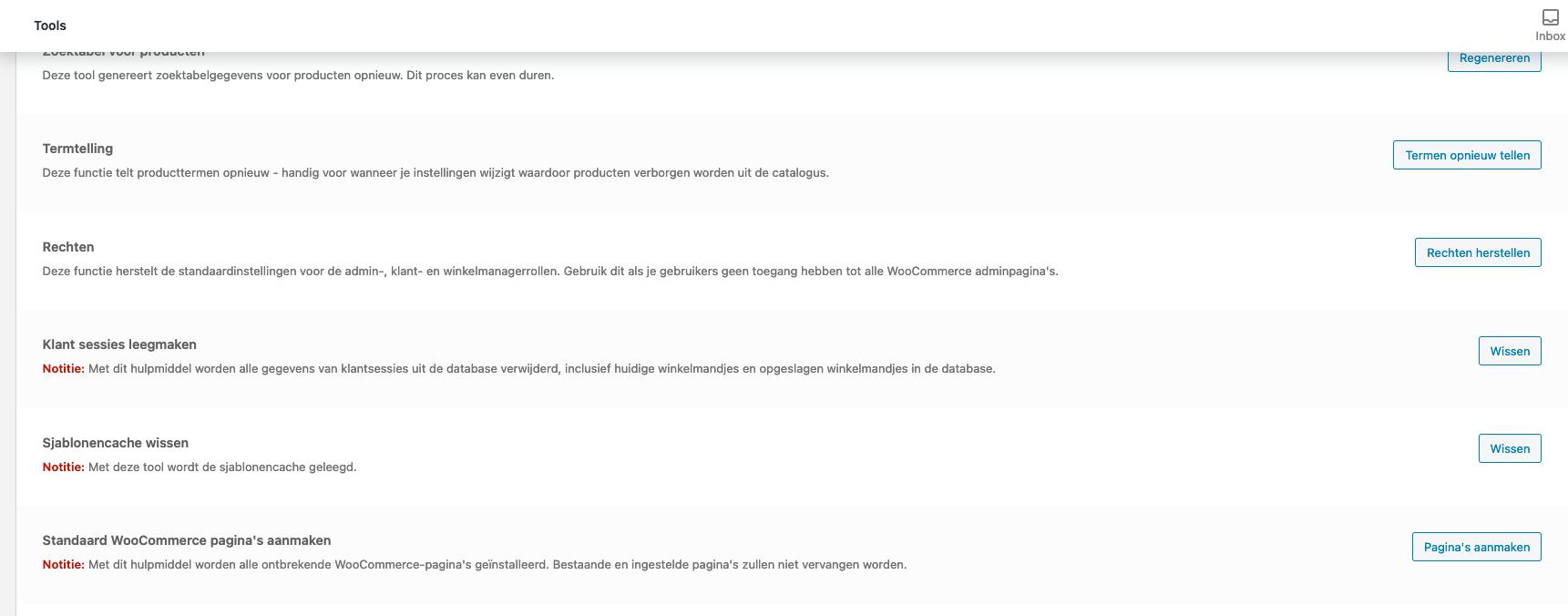 Optie 'Standaard WooCommerce pagina's aanmaken' onder 'Tools' in de WooCommerce instellingen