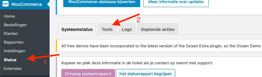Kies voor 'Status' onder het WooCommerce gedeelte, en vervolgens voor 'Tools' in WordPress
