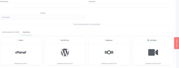 Een eigen cPanel, Nextcloud, Jitsi of WordPress server met 1 muisklik